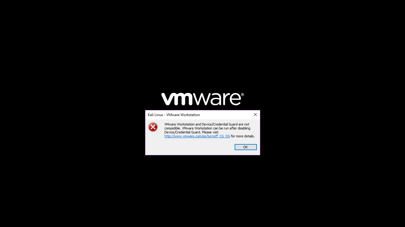 VMware Workstation and Device/Credential Guard are not compatible. VMware Workstation can be run after disabling Device/Credential Guard.